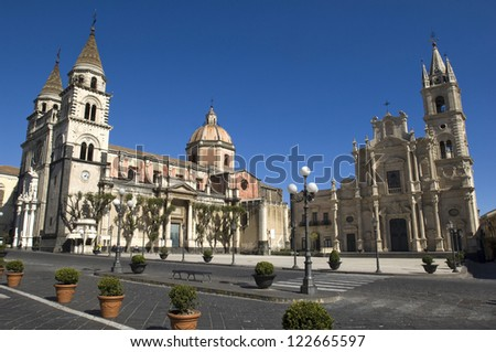 europe, italy, sicily, acireale, dome square - stock photo