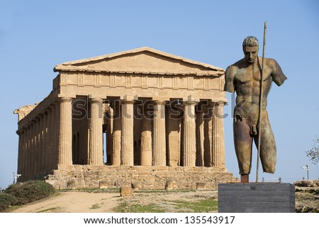 europe, italy, sicily, agrigento, concordia temple in the temples valley - stock photo