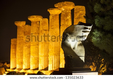 europe, italy, sicily, agrigento, temples valley, Ercole temple in the night - stock photo