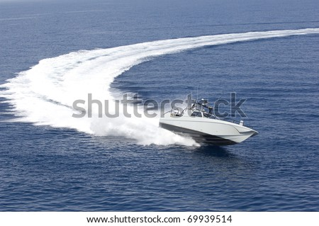 europe, italy, sicily, fast boat in mediterranean sea, aerial view - stock photo