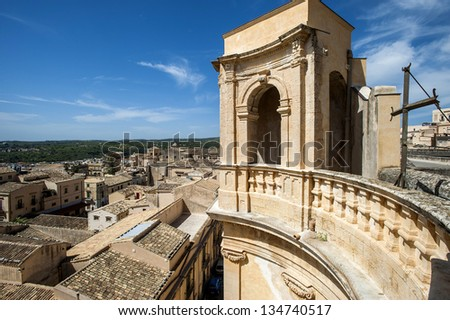 europe, italy, sicily, noto, bell tower of the church of Montevergini and view of the city - stock photo