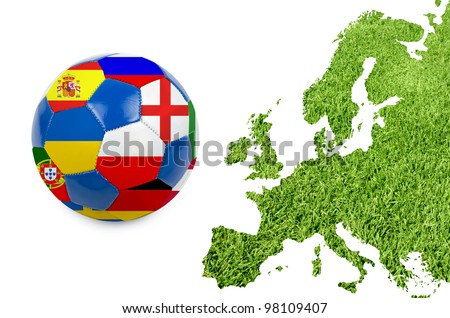 Europe map from green grass texture - stock photo