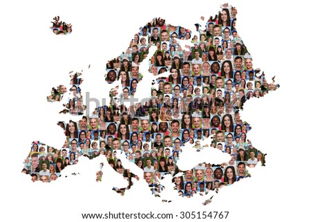 Europe map multicultural group of young people integration diversity isolated - stock photo