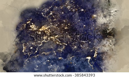 Europe map - Water painting illustration - stock photo