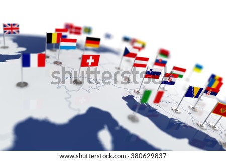 Europe map with countries flags. Shalow focus 3d illustration isolated on white background - stock photo