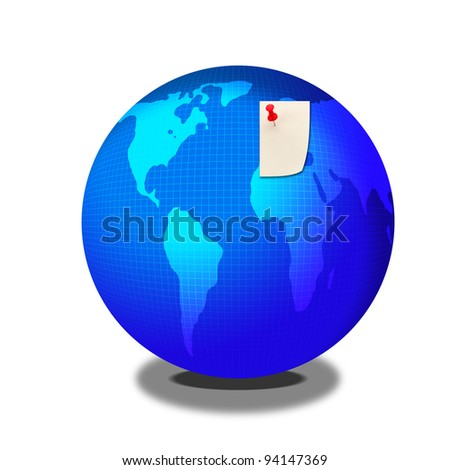 Europe mark on blue earth map - stock photo
