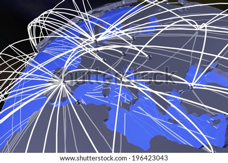 Europe Network Connections on Earth 3D Illustration - stock photo