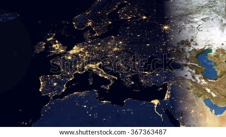 Europe Night Space View - High Resolution Map Composition (Elements of this image furnished by NASA) - stock photo