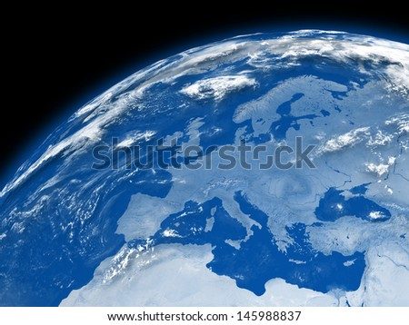 Europe on blue planet Earth isolated on black background. Elements of this image furnished by NASA. - stock photo