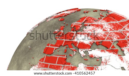 Europe on brick wall model of planet Earth with continents made of red bricks and oceans of wet concrete. Concept of global construction. 3D rendering. - stock photo
