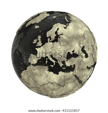 Europe on 3D model of planet Earth with black oily oceans and concrete continents with embossed countries. Concept of petroleum industry. 3D illustration isolated on white background. - stock photo