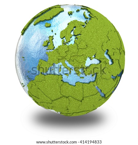 Europe on 3D model of planet Earth with grassy continents with embossed countries and blue ocean. 3D illustration isolated on white background with shadow. - stock photo