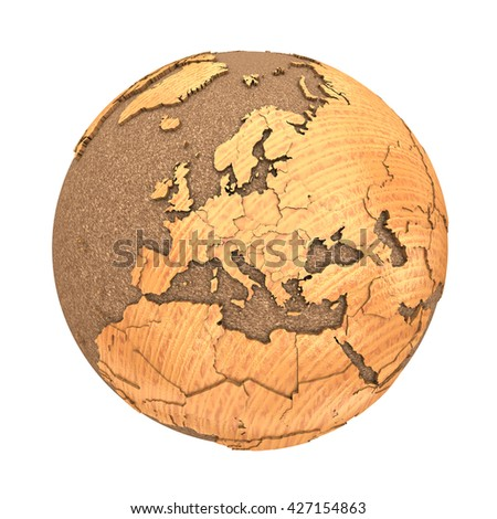 Europe on 3D model of wooden planet Earth with oceans made of cork and wooden continents with embossed countries. 3D illustration isolated on white background. - stock photo
