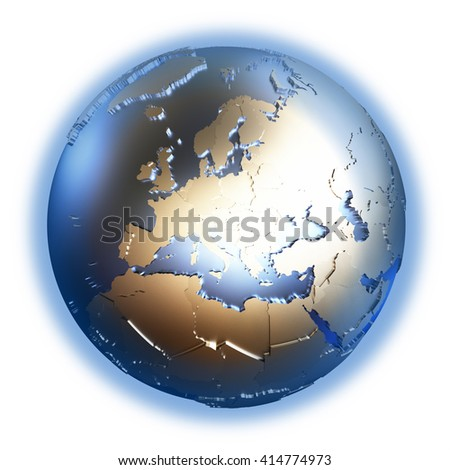 Europe on elegant metallic model of planet Earth with blue ocean and shiny embossed continents with visible country borders. 3D illustration isolated on white background. - stock photo