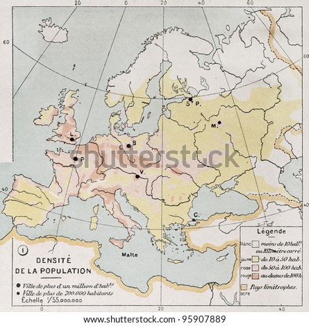 Europe population density at the end of 19th century, old map. By Paul Vidal de Lablache, Atlas Classique, Librerie Colin, Paris, 1894 (first edition) - stock photo