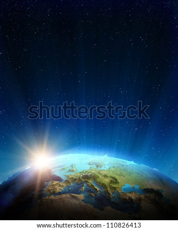 Europe real relief. Elements of this image furnished by NASA - stock photo