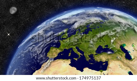 Europe region on planet Earth from space with Moon and stars in the background. Elements of this image furnished by NASA. - stock photo