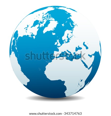 Europe, Russia and Africa, Global World - Raster Version - stock photo