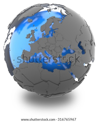 Europe standing out of blue Earth in grey, isolated on white background - stock photo