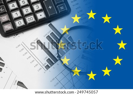 Europe union business concept with calculator and documents  - stock photo