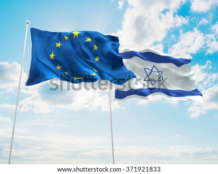 Europe Union & Israel Flags are waving in the sky - stock photo