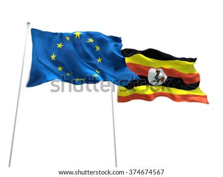 Europe Union & Uganda Flags are waving on the isolated white background - stock photo