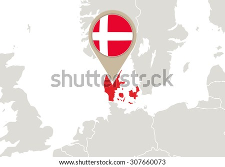 Europe with highlighted Denmark map and flag, Rasterized Copy - stock photo