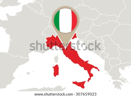 Europe with highlighted Italy map and flag, Rasterized Copy - stock photo