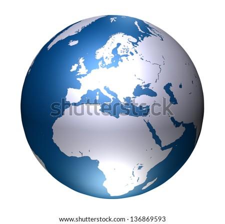 Europe World Global isolated on white background - stock photo