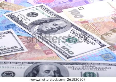 european and american money, dollars - stock photo