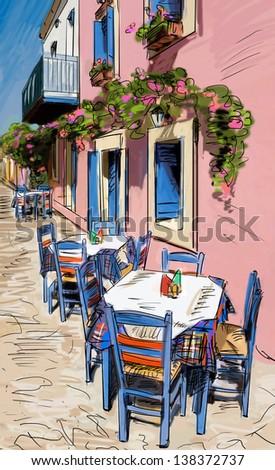 European city street color  illustration - stock photo