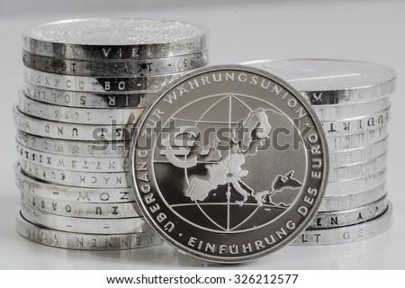 European community silver euros - stock photo
