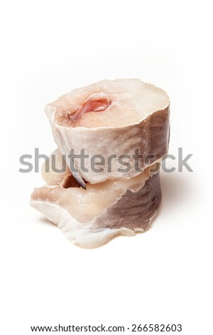 European conger (Conger conger) fish steaks isolated on a white studio background. - stock photo