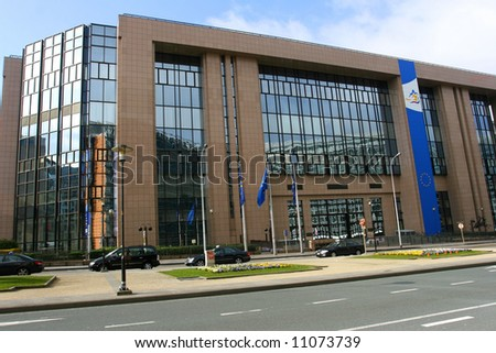 European Council main building in Brussels - stock photo
