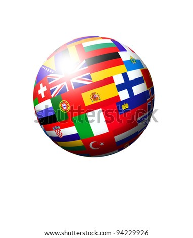 european countries flags ball over white background - stock photo