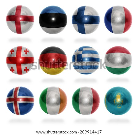 European countries (From E to K) flag balls on a white background - stock photo