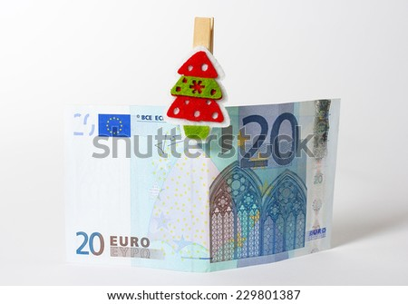 European Currency and Cristmas decoration - stock photo