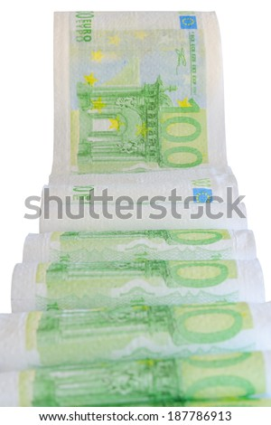 European currency bank notes printed on toilet paper isolate - stock photo