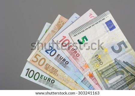 European currency money, euro bank notes. - stock photo