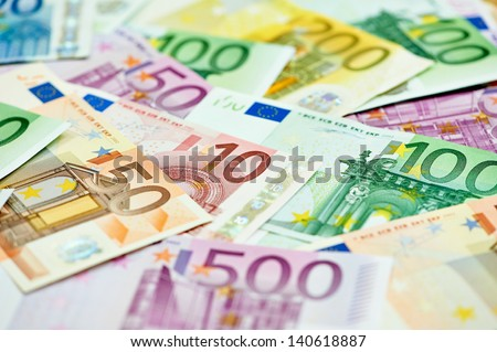 European currency money euro banknotes bill. Close-up - stock photo