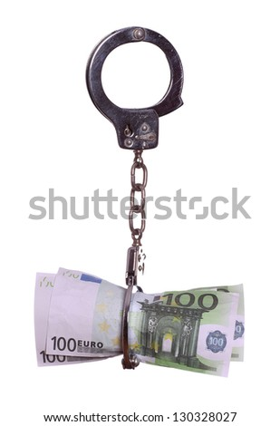 european currency with handcuff - stock photo