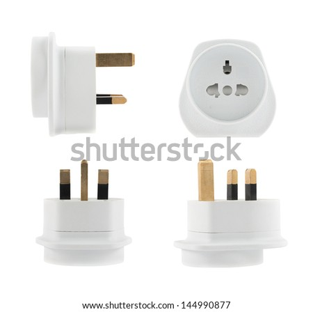European EU to UK converter plug travel adapter isolated over white background, set of four foreshortenings - stock photo
