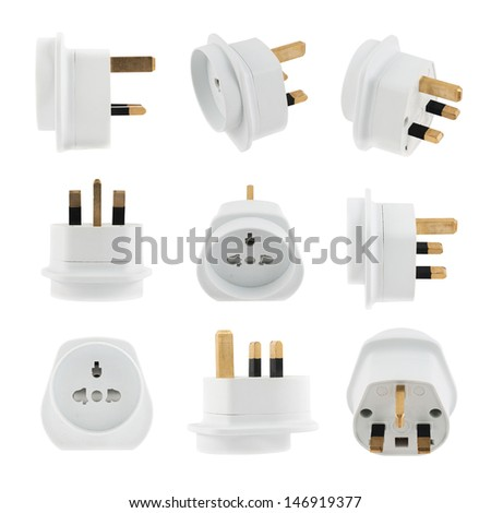 European EU to UK converter plug travel adapter isolated over white background, set of nine foreshortenings - stock photo