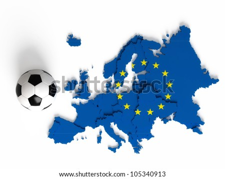 European flag on European map with national borders, isolated on white background - stock photo