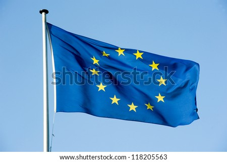 European flag waving in the wind - stock photo
