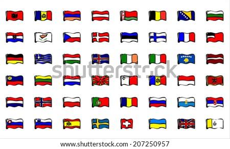 European flags. - stock photo