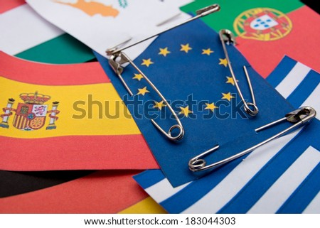 European flags, fixed with baby pins - stock photo