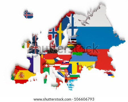 European map with national borders with countries flags, isolated on white background - stock photo
