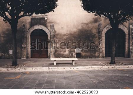 European medieval town street. Vintage style photo - stock photo