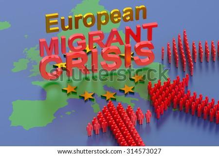 European Migrant Crisis concept - stock photo